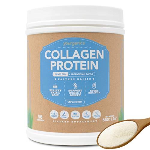 Yourganics Collagen Protein Powder | Grass Fed Argentinian Cattle | Pasture Raised Bovine Collagen Peptides | Healthy Skin, Hair, Bones | 56 Servings