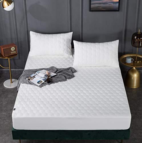 XLMHZP Protector de colchón Impermeable Acolchado en Relieve de Color sólido Blanco Funda Estilo sábana Ajustable para colchón Almohadilla Suave Gruesa para Cama-C_150x200cm + 30cm