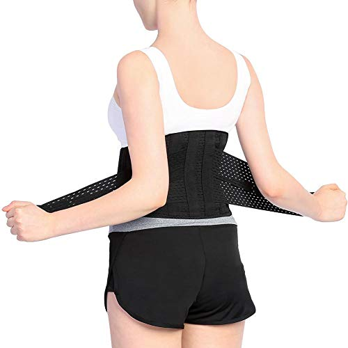 Qiter Tirante Trasero, cinturón de Cintura Lumbar Cinturón de Soporte para la Espalda Baja con Paneles de Malla Transpirable