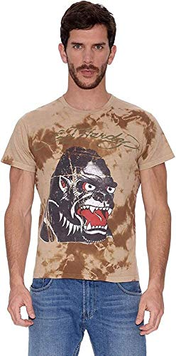 Ed Hardy Camiseta Natural Aged Tie Dye tee Caqui M