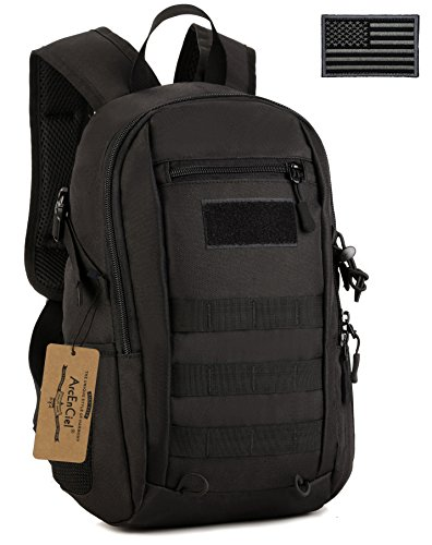 ArcEnCiel Small Tactical Backpack Military MOLLE Daypack Gear Assault Pack School Camping Bag (Black)