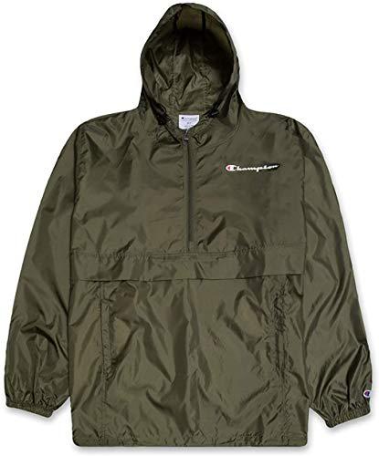 Champion Jacket Mens Big and Tall Hoodie Anorak Windbreaker Men Rain Jacket Olive 2X