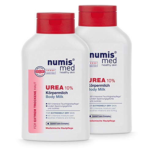 numis med Körpermilch mit 10{ab10775cf83312003a9b7d223c5346fc4c5e8d0a5ea0ce01623466066a41551d} Urea - Hautberuhigende Bodylotion für extrem trockene, zu Juckreiz neigende Haut - vegane Hautpflege ohne Silikone, Parabene & Mineralöl - Lotion 2er Pack (2x 300 ml)
