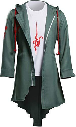 YBINGA Disfraz para hombre, disfraz de Halloween, carnaval, anime, cosplay con capucha, dobladillo irregular, color verde, talla S)