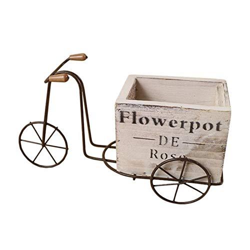 Htipdfg Maceteros 1pc Elegante práctico útil Tiesto Tiesto Jardín Accesorios de Madera Diseño de Bicicletas Adorno for la casa del jardín de Flores Lavabo de Flores (Color : 24X9cm)