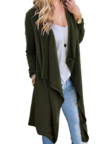 SwissWell Damen Strickjacke Cardigan Pullover Blazer Oberteil Open Front Jacke Mantel Langarm Loose mit Taschen Dunkelgrün M