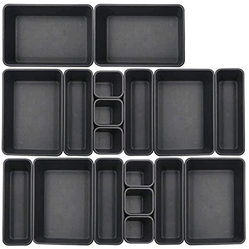 Wefeelm 18-pack ihopkopplade lådor organiseringsbricka, multifunktionell skrivbord låda bricka organiserare för kök badrum kontor sovrum