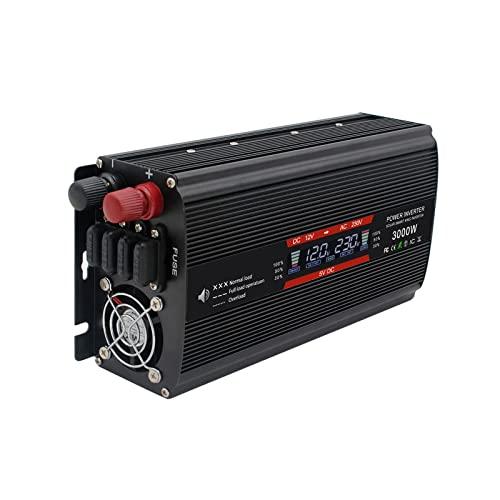 Wgwioo Inverter di Potenza 3000W, Inverter per Auto da DC 12V/24V A AC 110V/240V con Convertitore per Auto con Display A LED,12V to 110V