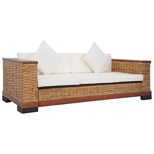 vidaXL Sofa 3-Sitzer mit Auflagen Couch Rattansofa Loungesofa Sitzmöbel Wohnzimmersofa Rattanmöbel Designsofa Korbsofa Braun Natur Rattan