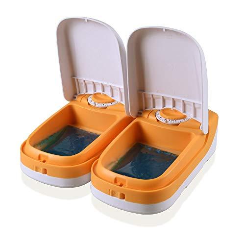 WOpetペット給餌器タイマー給餌器猫用自動給餌器タイマーは最大48時間餌対応できかわいいオシャレ自動給餌器ペットおるすばんフィーダー2食分商品サイズ:26.5*23.5*7.5CM(黄色い)
