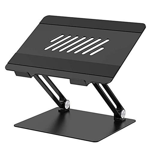 Soporte Laptop Ajustable, Soporte Ergonómico de Aluminio para Ordenador Portátil Elevado con Ventilación de Calor, Compatible con 10-17' Computadora Portátil,Negro