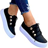 LEMOKIKI Women's Lace-up Leatherette Flat Heel Sneakers, Women's Sneakers Muffin New Platform Sneakers, Solid Color Women Athleitc Shoes Running Walking Tennis Shoes Non-Slip Fashion (Black,8.5)