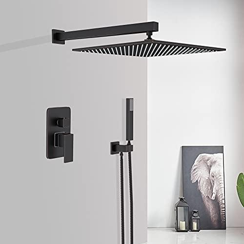 Saeuwtowy - Sistema de ducha empotrado, grifo de ducha con interruptor de mano integrado con alcachofa de ducha de latón negro de 12 pulgadas