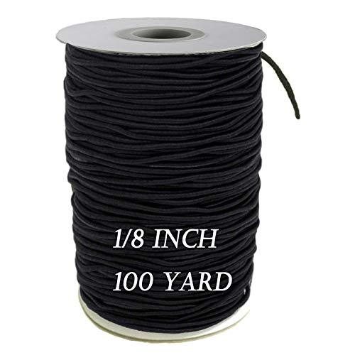 Elastic Bands for Sewing - 1/8 inch Elastic String for Sewing, Masks, Crafting 100 Yards Elastic Cord High Elasticity Knit Elastic Band DIY (Black)
