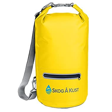 Såk Gear DrySak Waterproof Dry Bag with Exterior Zip Pocket, Shoulder strap and Reflective Trim, For Watersports & Outdoor Activities, 20L Yellow