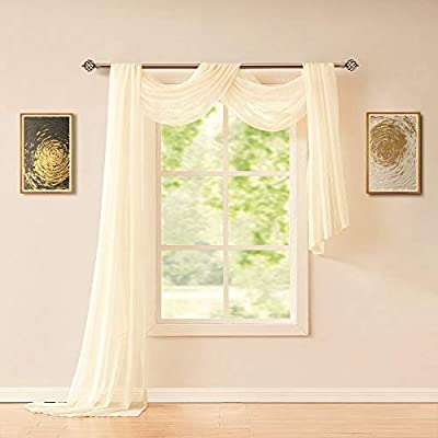 """ASATEX Extra Long 56"""" (W) x 288"""" (L) (24 Feet) Beige Cream Sheer Window Scarf. Voile Window Treatments are Perfect As Valance Scarves, Bed Canopy Scarfs Or Wedding Decorations. AMA 56"""" x 288"""" Cream"""