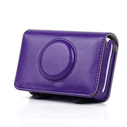 Bolso de Cuero Funda de Cuero de PU de Color sólido LJR para cámara Polaroid Snap Touch (Negro) (Color : Púrpura)