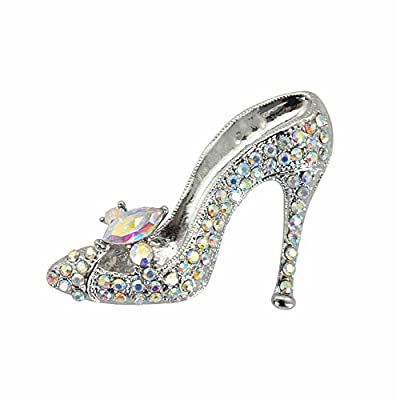 TTjewelry Fashion Style High-Heel Shoe Rhinestone Crystal Brooch Pin (White Silver-Tone)