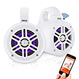 Waterproof Marine Wakeboard Tower Speakers - 4 Inch Dual Subwoofer Speaker Set w/ 300 Max Power Output - Boat Audio System w/Built-in LED Lights - Mounting Clamps Included - Pyle PLMRLEWB46W (White)