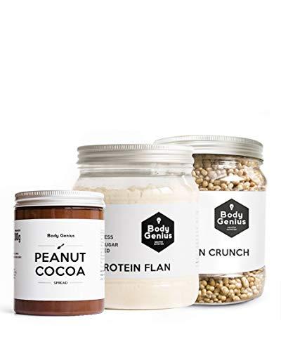 BODY GENIUS Merienda o Postre Proteico (Galleta). Flan Proteico, Crema de Cacahuete Cacao, Protein Crunch. Natural, Alto en Proteína, Bajo en Hidratos, Sin Azúcar, Sin Aceite de Palma.