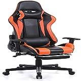 OrangeGaming-Stuhl, verstellbar, Esport-Gamer-Stuhl, Erwachsene, Renn-/Videospiel-Stuhl, große Größe, PU-Leder, hohe Rückenlehne, Chefsessel