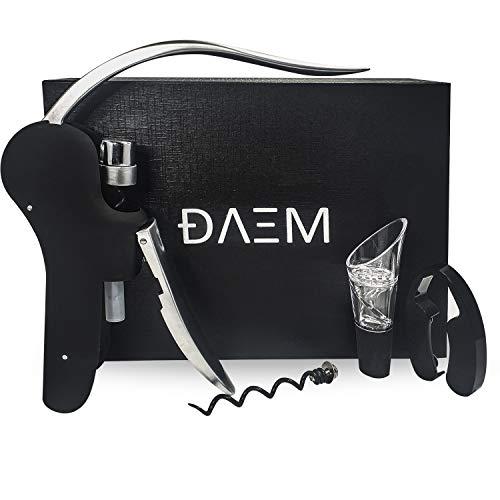 DAEM 4-delige Elegantes|luxe somelierset|kurkentrekker|flesopener cadeauset incl. foliesnijder|professionele wijnopener|reservespiralen en wijnbeluchter (karabijn)