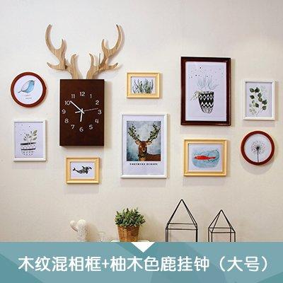 Fotolijst*Foto muurschilderij Amerikaanse militaire horloges combinatie van creatieve Home Restaurant fotolijsten muurschilderkunnen, hout - korrel mix wit + teak houten wand kop + frisse Nordic