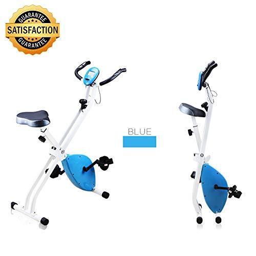 Fitness Cyclette, Pieghevole Fitness Bike con Cardiofrequenzimetro, Bike Spinning Cyclette Pieghevole Salvaspazio Home Training, Unisex X-Bike Cardio Gambe Pancia FianchiBlue