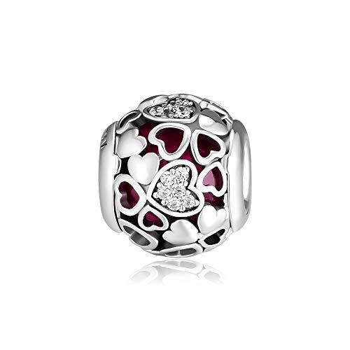 CKK Encased in Love Charm Fit for Pandora Bead Bracelet 100% 925 Sterling Silver Bead DIY Women Jewelry Gift, Valentine