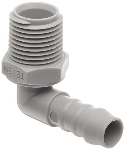 Tefen Nylon 66 Hose Fitting, 90 Degree Elbow Adapter, Gray, 3/8