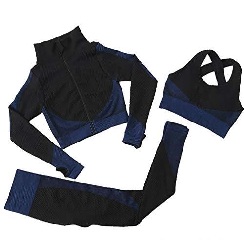 OMMO LEBEINDR 3Pcs Seamless Frauen Yoga-Anzug Langarm Mantel Weste Leggings Fitnessanzug Gym Sportbekleidung Set (blau, L) ?OPP?