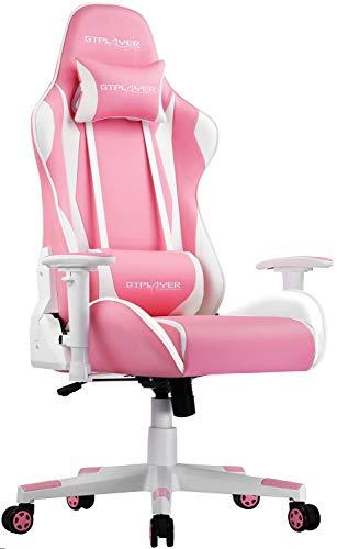 GTPLAYER Gaming Stuhl Bürostuhl Schreibtischstuhl Kunstleder Drehstuhl Chefsessel Höhenverstellbarer Gamer Stuhl Ergonomisches Design (Rosa-weiß)
