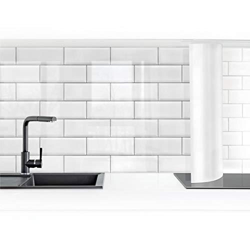 Bilderwelten Revestimiento Pared Cocina - White Ceramic Tiles 60 x 400 cm Premium