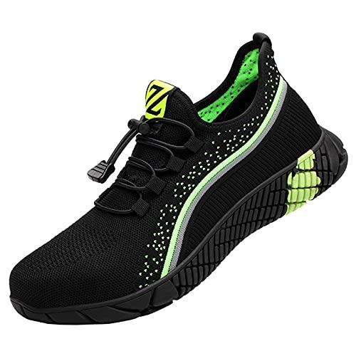 Wygwlg Zapatos de Seguridad,Zapatillas de Trabajo indestructibles con Punta de Acero para Hombres,Zapatillas de Deporte con Puntera de Acero livianas,Botas,Calzado Informal antigolpes de Malla