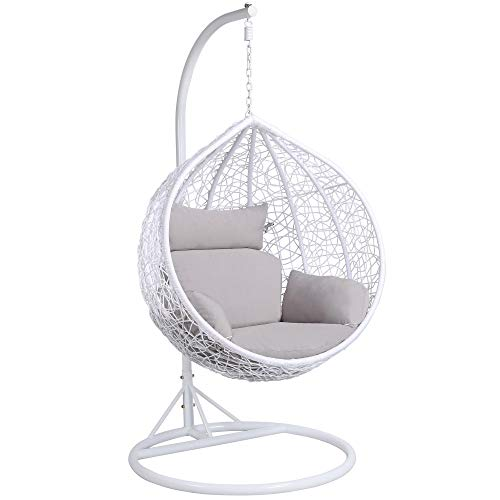 Yaheetech Rattan Swing Chair Hanging Garden Patio Indoor Outdoor Egg Chair with Stand Cushion and Cover,White,150kg Capacity
