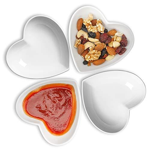 Dessertschale für EIS/Obst, Cute Heart Bowl Keramik 4er-Set, Beilagenschalen zum Frühstück/Abendessen, 340ml