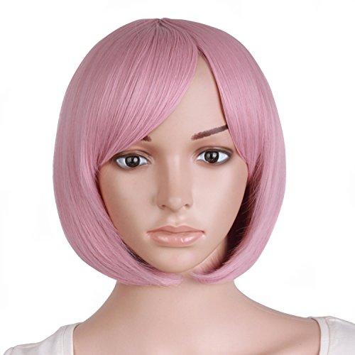 MapofBeauty 12'/30cm Kurze Glatte Haare Weibliche Rollenspiel BOB Perücke (Rouge Rosa)