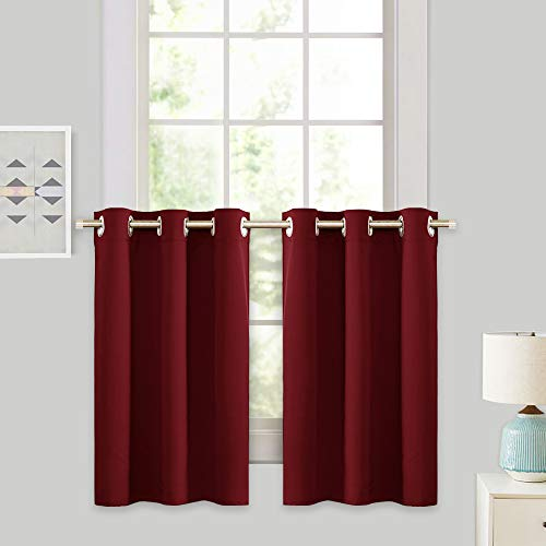 RYB HOME Décor Kitchen Cabinet Closet Curtain Shades, Half Window Tier Curtains for Baby Nursery, Versatile Small Blackout Curtains for Bedroom, 42 x 36 inches Each Panel, Burgundy Red, 2 Pieces