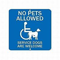 金属標識安全標識危険標識ペット不可サービス犬は大歓迎ですペット動物警告注意錫標識屋外通りの道路装飾品質アルミニウム(1個セット)