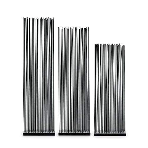 Skydesign Biombo negro – 185 cm de alto – Base negra de polietileno – Sticks de fibra de vidrio negro – Tabique móvil – Protección visual jardín – Divisor de habitaciones – Biombo negro