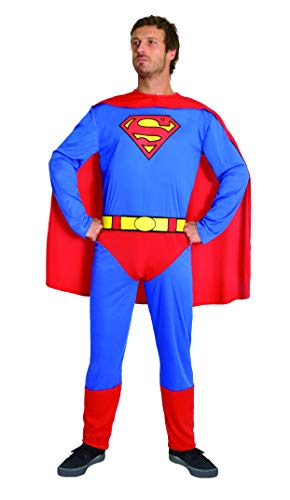 Ciao- Superman Costume Adulto Originale DC Comics (Taglia XL) con muscoli pettorali imbottiti Disfraces, Color Azul/Rojo, 11674