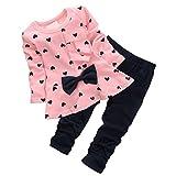 CHIC-Fille Enfant Ensemble en 2 PCS T-Shirt Longues Manches + Pantalons Blouse Tee Blouse Motif Cœur Noeud Papillon (24-36mois, Rose)