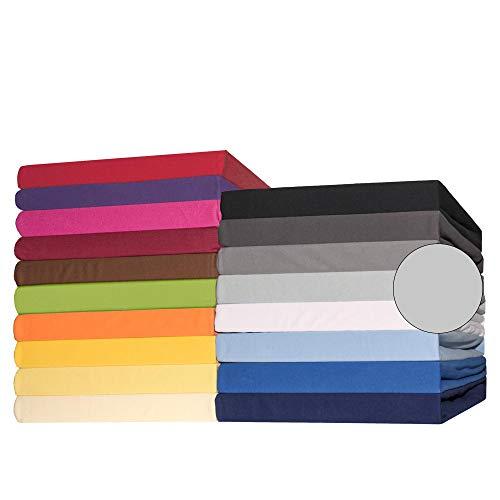 CelinaTex Lucina Topper Spannbettlaken 180x200-200x200 cm Silber grau Baumwolle Spannbetttuch