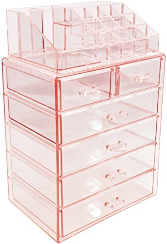 Sorbus Cosmetic Makeup and Jewelry Storage Case Display - Spacious Design - Great for Bathroom, Dresser, Vanity and Countertop (4 Large, 2 Small Drawers, Pink)