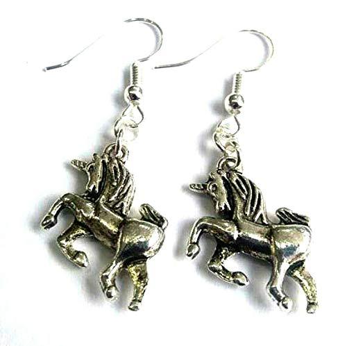 Pendientes de plata tibetana con diseño de unicornio mágico en plata de ley ganchos caballos ponies