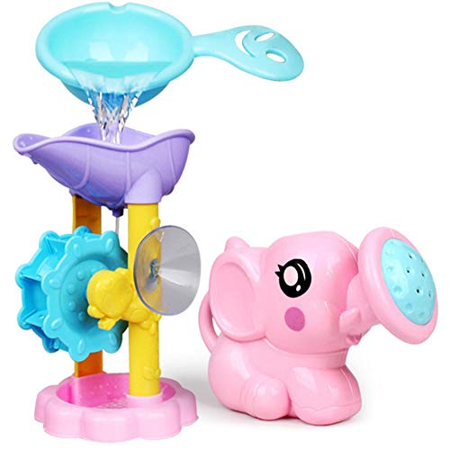 Mhwlai Baby Bath Toy, Water Gamesprinkler Float Bathroom Bathing Water Suits, The Combination of A Rotating Water Wheel and A Baby Elephant are The Best Gifts for Children
