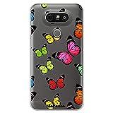 dakanna Funda Compatible con [ LG G5 - G5 SE ] de Silicona Flexible, Dibujo Diseño [ Estampado de Mariposas Multicolor ], Color [Fondo Transparente] Carcasa Case Cover de Gel TPU para Smartphone