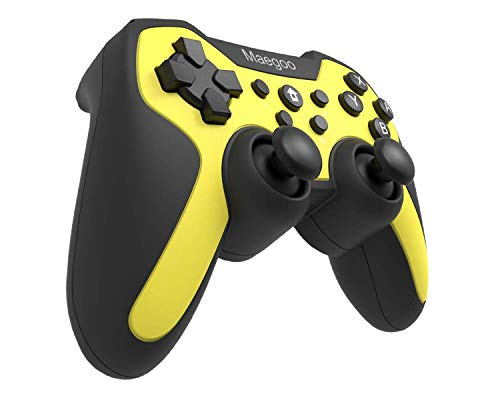 Maegoo Mando Controlador Inalámbrico para Switch, Bluetooth Remote Wireless Pro Mandos Controller Gamepad Joypad con Función Gyro Axis/Dual Shock y Turbo - Amarillo