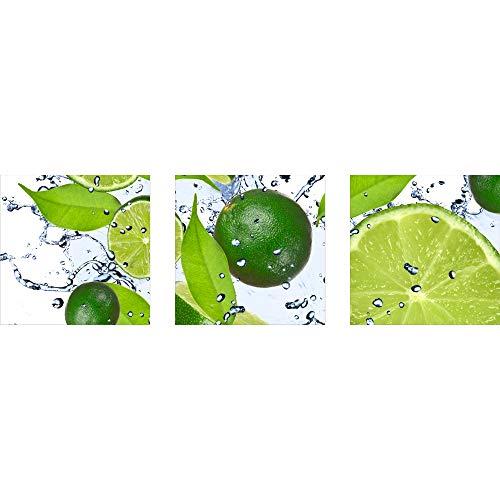 decorwelt | Dreiteiliges Wandbild 3 Teilig Acrylglasbilder Acryl Glasbild Obst Grün 90x30 cm Wandbilder Wohnzimmer Esszimmer Deko Wanddeko