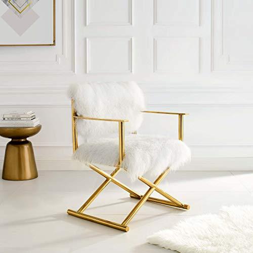 Modway Regiestuhl aus reinem Kaschmir, Leder, goldfarben, 52 x 65 x 80 cm